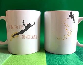 I'm so fly I Neverland - Peter Pan inspired wrap around mug - Color accent mug