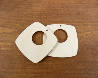 """Wood Earring Squares with Circle Cutout Laser Cut Wood Jewelry Shapes 2"""" (50mm) x 1/8"""" (3.175mm) Thick - 12 Pieces"""
