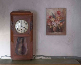 Antique French Vedette Granfather Wall Clock