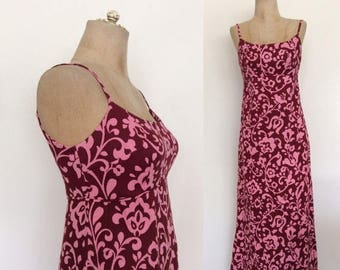 30% OFF 1970's Cotton Pink Floral Maxi Dress Vintage Hawaiian Dress Size XS by Maeberry Vintage