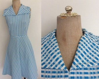 20% OFF 1970's Plaid Turquoise Polyester Dress w/ Exaggerated Collar Size XS Small by Maeberry Vintage