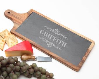 Wood Cheese Board, Personalized Slate Board, Acacia Wood Slate Cheese Board, Slate serving board, Personalized Wedding, Housewarming D16