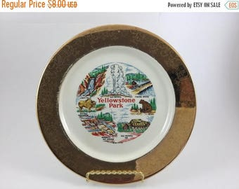 Sale Vintage Yellowstone Park Souvenir Plate Gold Trim