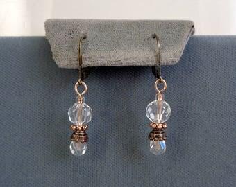 Clear Crystal Bead Drop Earrings