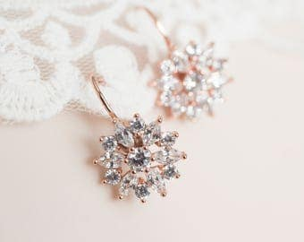 Rose Gold Cubic Zirconia Flower Bridal Earrings, Cubic Zirconia Flower Earrings, Bridal Flower Earrings, Floral Bridal Jewelry