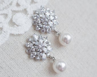 Bridal Earrings,Cubic Zirconia Flower Stud and Round Drop Pearl Earrings,Bridal CZ Pearl Floral Earrings,Cubic Zirconia Bridal Pearl Jewelry