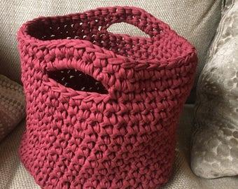 Handmade crocheted storage basket