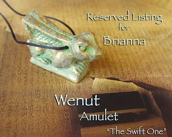 RESERVED for Brianna - Wenut Amulet - The Swift One -Symbol of Fertility & Renewal -Handcrafted Clay Amulet -Aged Golden Brass Patina Finish