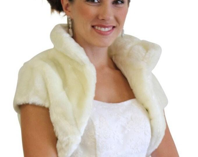 Easter Sale Ivory faux fur bolero jacket #603NM on sale