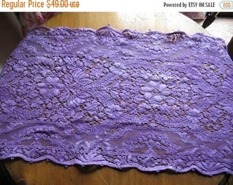 Antique Delicate Lace Table Runner Dresser Scarf in Purple!
