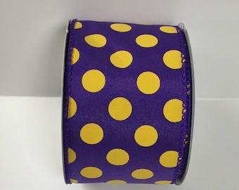 ON SALE 2.5 Inch Purple Yellow Dot Ribbon 224085-1048, Wired Ribbon, College Wreath Ribbon