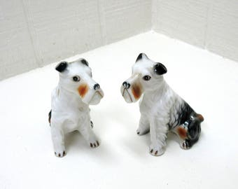 Vintage Pair Seated Terrier Figurines Genuine Bone China