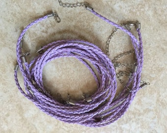 """10 Braided Purple 16"""" neck cords with closure US Seller"""