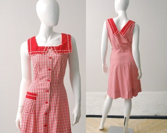1950s Gingham Dress / Cotton Dress / 40s 50s