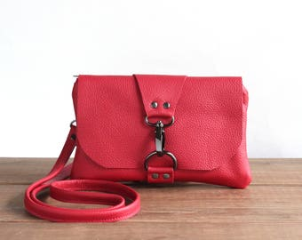 Red Leather Mini Messenger Bag, Small Crossbody Bag, Leather Cross Body Purse, Summer Festival Bag, Minimalist Phone Clutch, Leather Pouch