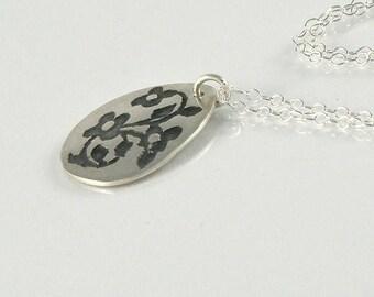 Miniature Flowers Sterling Silver Necklace, Tiny Flowers Necklace, Gift For Teens Gift For Girls Floral Oxidized Pendant, Teardrop Necklace