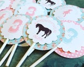Shabby Chic Pony Cupcake Toppers