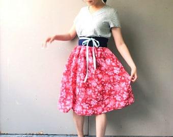 Elastic Midi Skirt, Floral Gauze