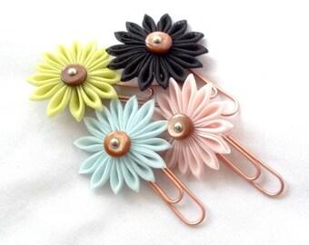 Set of 4 Cute Flower Paper Clips Kanzashi Fiber Art Folded Fabric Office Supplies Bookmarks