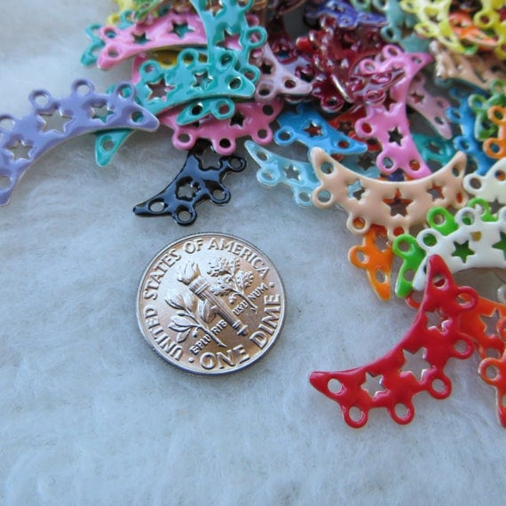 Crescent Moon Links Enameled Metal Colorful Charms or ...