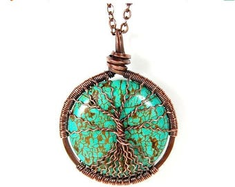 20% OFF Vacation SALE Spindly Roots and Branches Round Turquoise Tree of Life Necklace in Antique Copper.