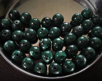 10mm Round Malachite Beads