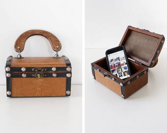 Small Treasure Chest Wood Handbag • 60s Purse • Vintage Purse • Wood Purse • Structured Bag • Small Purse • Small Handbag | B941