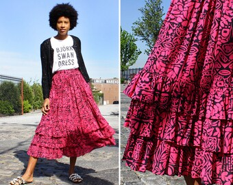 Vintage Midi Skirt S/M • 80s Skirt with Pockets • Ruffle Skirt • Hot Pink Skirt • Flare Skirt • Liz Sport Skirt • Cotton Summer Skirt |SK829