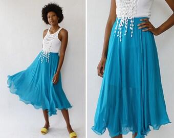 Blue Silk Skirt S • Vintage Silk Skirt • 80s Skirt • High Waisted Skirt • Flared Midi Skirt • Summer Midi Skirt • Silk Chiffon Skirt | SK905