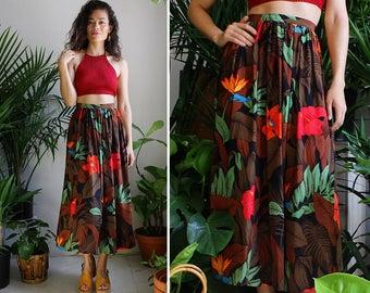 Silk Floral Skirt S • Vintage Silk Skirt • 80s Skirt with Pockets • High Waisted Skirt • Flowy Skirt • Flared Midi Skirt •  | SK833