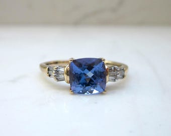 Vintage 10k Solid Yellow Gold Tanzanite and Baguette Diamond Engagement Ring, Size 8