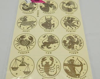 Vintage Meyercord Zodiac Decals, Water Slips, 1970s, Astrology,  Gold