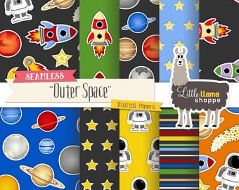 Digital Paper Planets, Outer Space, Astronaut, Rockets, Astronomy Themed Scrapbook Paper Digital Backgrounds, Small Business Use