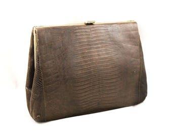 1940s Reptile Handbag - 40s 50s Stylecraft Miami Purse - Brown Lizard Skin 40's Clutch Bag - WWII Era - No Handle As Is Hand Bag - 48005