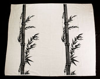 Alfred Shaheen Fabric Panel for 1960s Dress - Black Bamboo Screen Print Flax Natural Beige Yardage - 60s Asian - 46 x 54 Inches - 49782