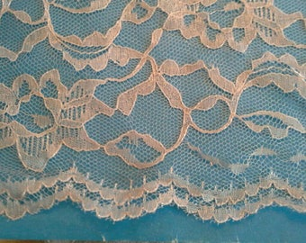 Silver Grey Floral Lace Fabric with Scalloped Edge 3 Yards X0942