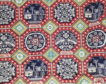 Colonial Early American Home Decor Cotton Fabric 1 1/4 Yards X1275