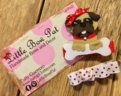 Pug Puppy...  Ribbon Sculpture Hairbow Set in Red