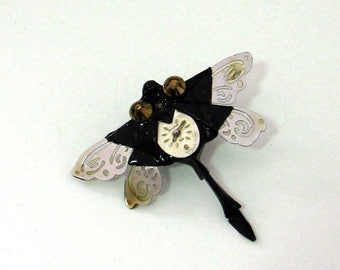 STEAMPUNK origami dragonfly pin