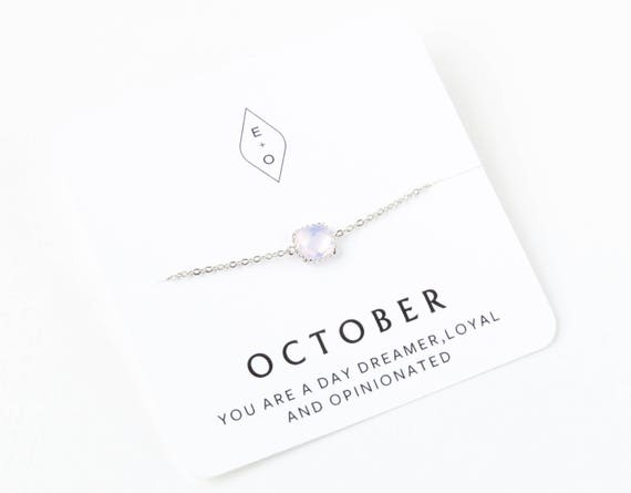 Silver Personalized Birthstone Bracelet   Birthday Gift   Bridesmaids Gift   Gift for Her   Gemstone Bracelet   Opal Bracelet    Opal