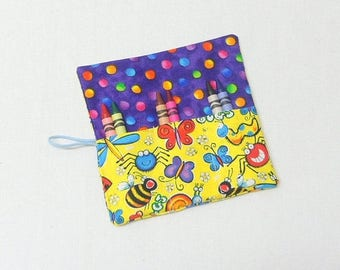 On Sale Crayon Roll Bug Fabric Crayon Roll Up  Party Favors  Birthday Gift Kids Party Favor 6 Crayons
