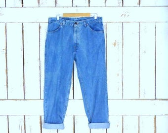 Levis 506 orange tab blue stone washed loose fit zipper fly denim jeans/high waisted relaxed tapered leg blue jeans/38 x 30