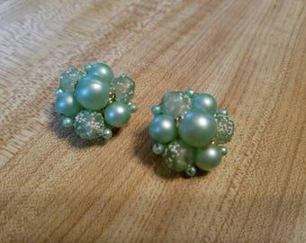 Vintage Mint Green Clip On Earrings Ladies Accessory 1960s Metal Beads Hong Kong