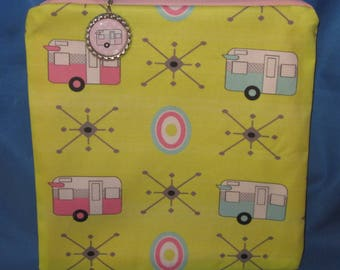 """Camping Zipper Tote, Purse, Bag 8"""" X 8"""" Vintage Pink & Blue Shasta Style Trailers on Yellow"""