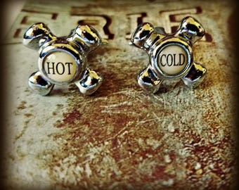 Hot and Cold Faucet Cuff Links