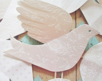 Paper Birds--12 White Paper Cake Toppers