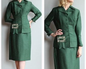 Early 1950s Suit // LILLI ANN Silk Emerald Suit // vintage early 50s Lilli Ann Suit