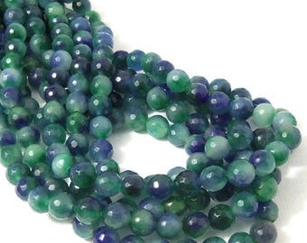 Fired Agate Bead, Green and Dark Blue, Shaded, Multi Colored, Round, Faceted, 8mm, Gemstone Beads, 14.5-15 Inch Strand - ID 2251