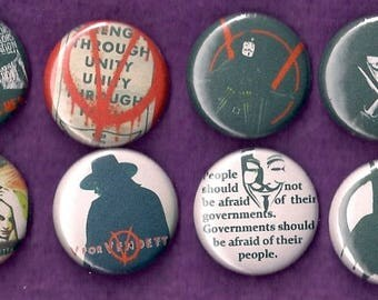"V for Vendetta 1"" Pins Buttons Badges Set of 8 Alan Moore Sci-Fi Comic Movie"