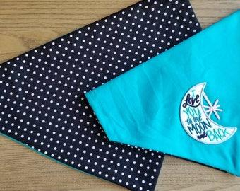 I love you to the moon and back! dog bandana, Reversible bandana, polka dot bandana, over collar bandana, dog scarf